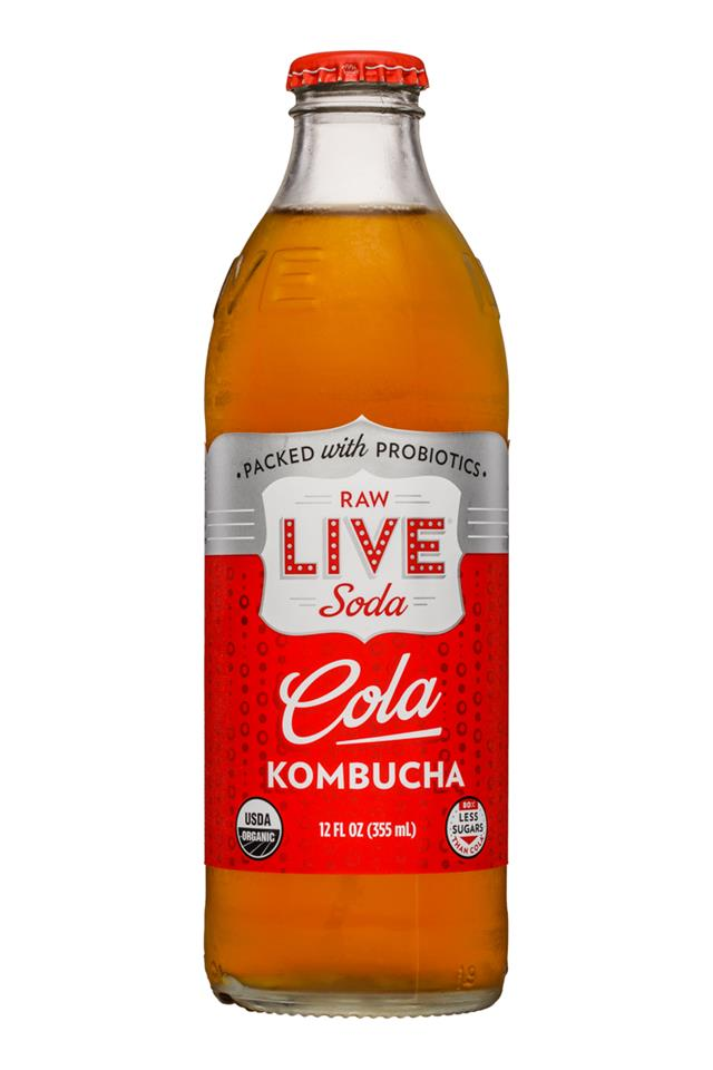 Live Soda Kombucha: Live-RawSoda-12oz-Kombucha-Cola-Front