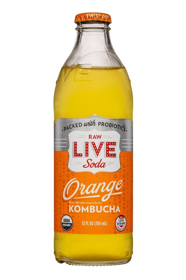 Live Soda Kombucha: Live-RawSoda-12oz-Kombucha-Orange-Front