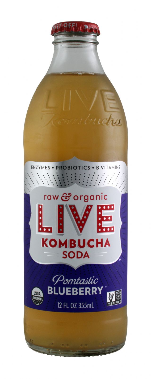 Live Soda Kombucha: Live PomBlue Front