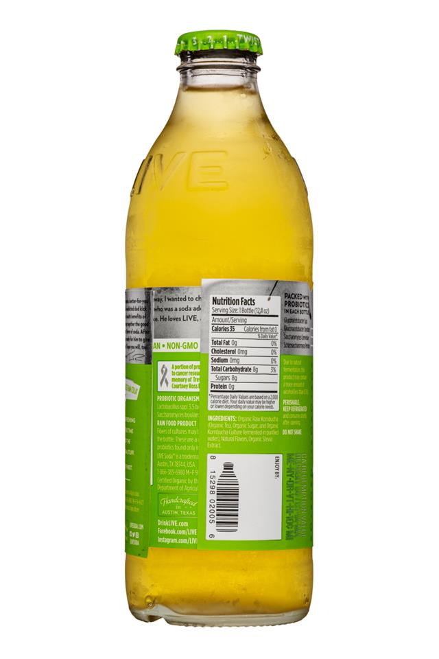 Live Soda Kombucha: Live-RawSoda-12oz-Kombucha-LemonLime-Facts