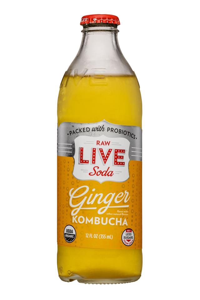 Live Soda Kombucha: Live-RawSoda-12oz-Kombucha-Ginger-Front