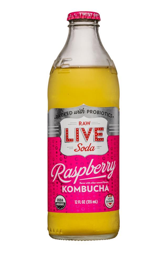 Live Soda Kombucha: Live-RawSoda-12oz-Kombucha-Raspberry-Front