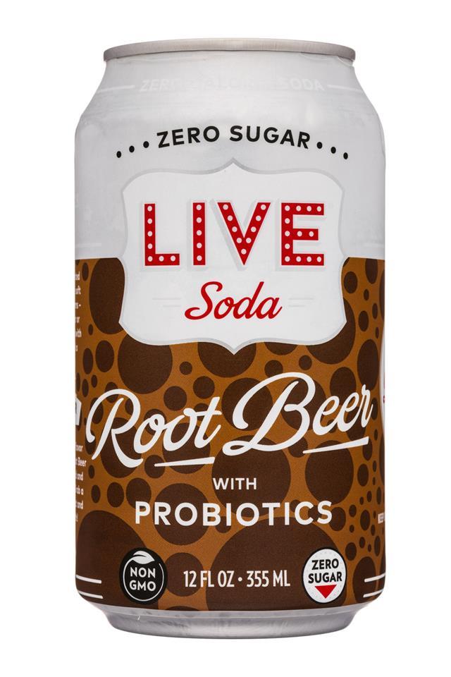 Live Soda Kombucha: LiveSoda-12oz-Probiotics-RootBeer-Front