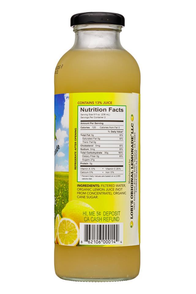 Lori's Original Lemonade: LorisOriginalLemonade-16oz-Original-Facts
