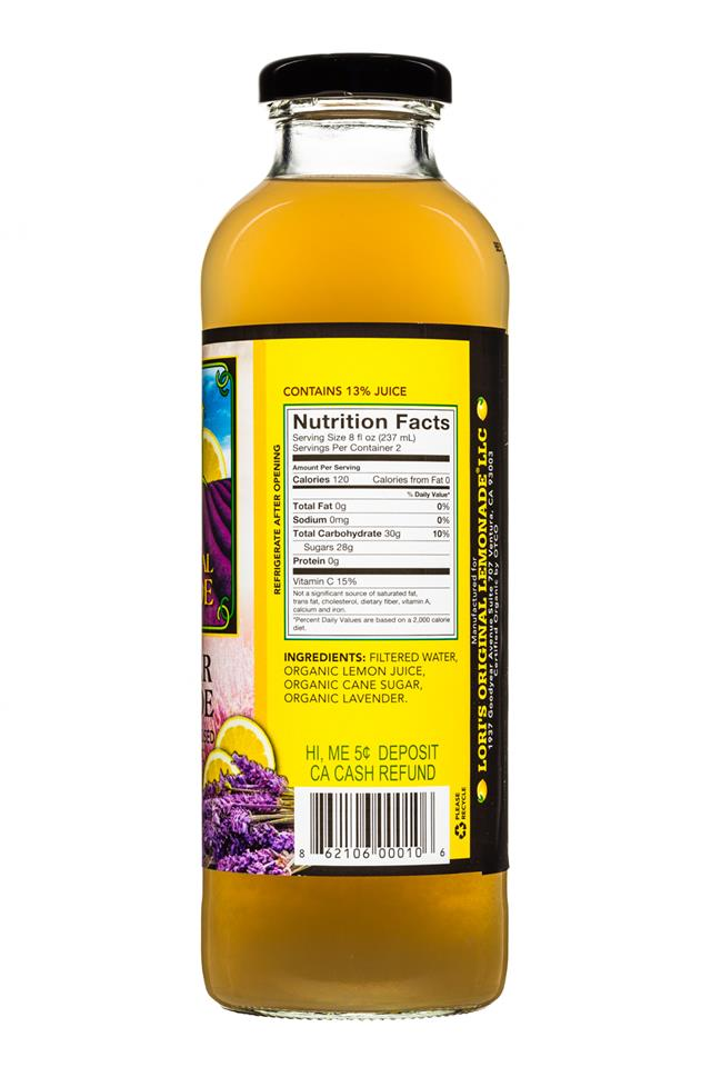 Lori's Original Lemonade: LorisOGLemonade-16oz-LavenderLemonade-Facts