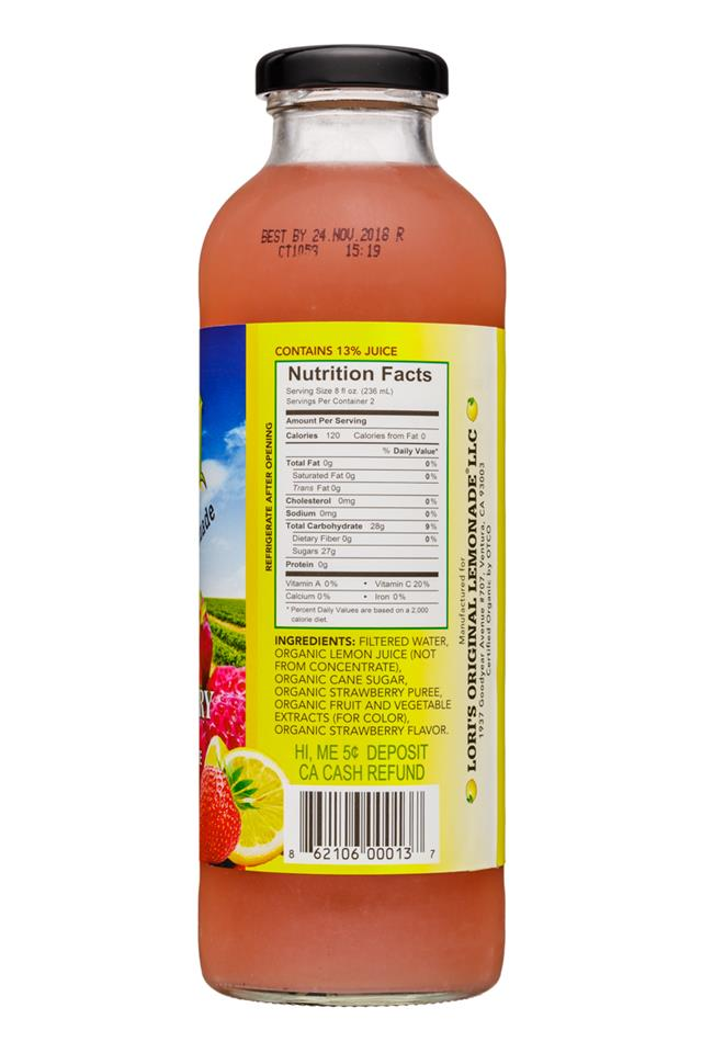 Lori's Original Lemonade: LorisOriginalLemonade-16oz-WildStrawberry-Facts