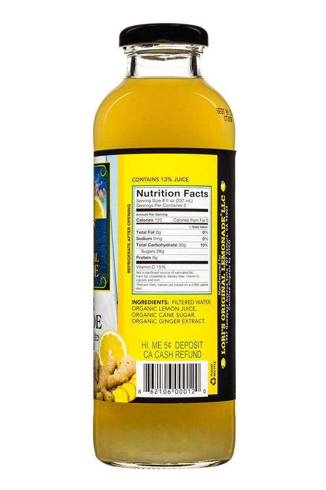 Lori's Original Lemonade: LorisOGLemonade-16oz-GingerLemonade-Facts