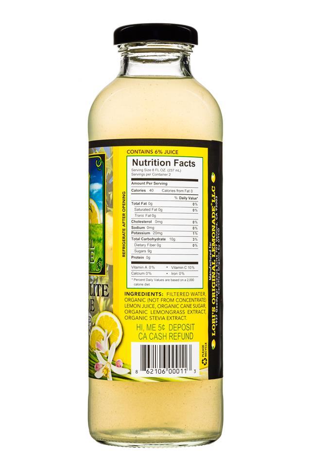 Lori's Original Lemonade: LorisOGLemonade-16oz-LemongrassLite-Facts