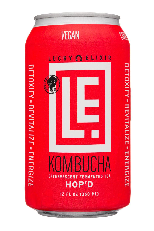Lucky Elixir Kombucha: LuckyElixer-12oz-2020-Kombucha-Hopd-Front