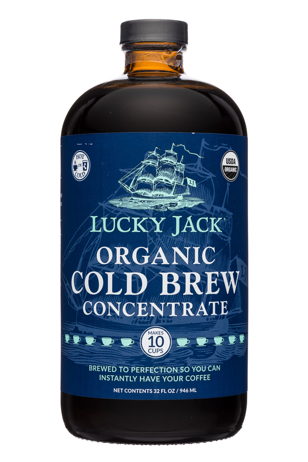 Lucky Jack Iced Coffee: LuckyJack-32oz-ColdBrew-Concentrate-Front