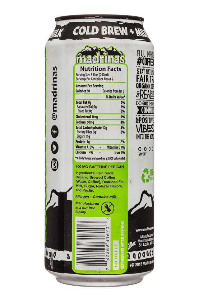 Madrinas Coffee: Madrinas-15oz-ColdBrew-Milk-Facts