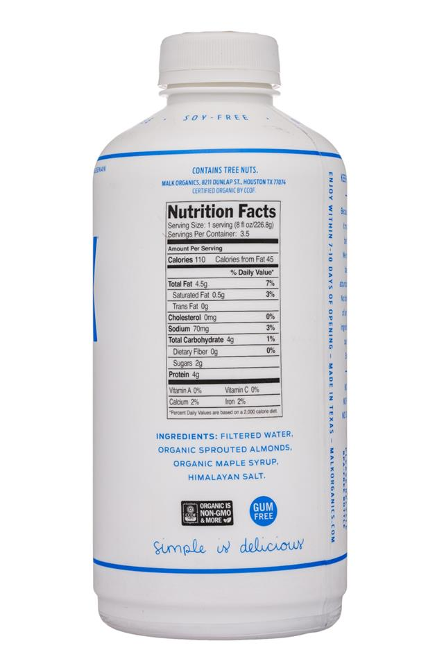 MALK Organics: Malk-28oz-Almond-Maple-Facts