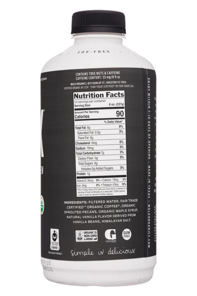 MALK Organics: Malk-28oz-PecanMilk-Coffee-Facts