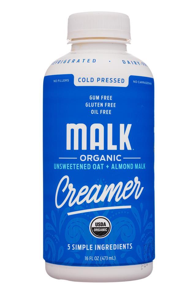 MALK Organics: Malk-16oz-Creamer-UnsweetOatAlmond-Front