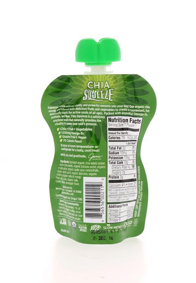 Mamma Chia Organic Chia Squeeze: MammaChia GreenMagic Facts