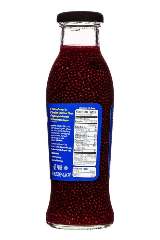 Mamma Chia Organic Vitality Beverages: MammaChia-10oz-BlueberryPom-Facts