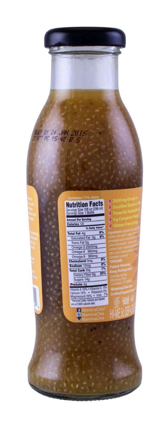 Mamma Chia Organic Vitality Beverages: MammaChia PineappleCoco Facts