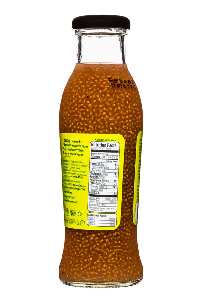 Mamma Chia Organic Vitality Beverages: MammaChia-10oz-GingerLime-Facts