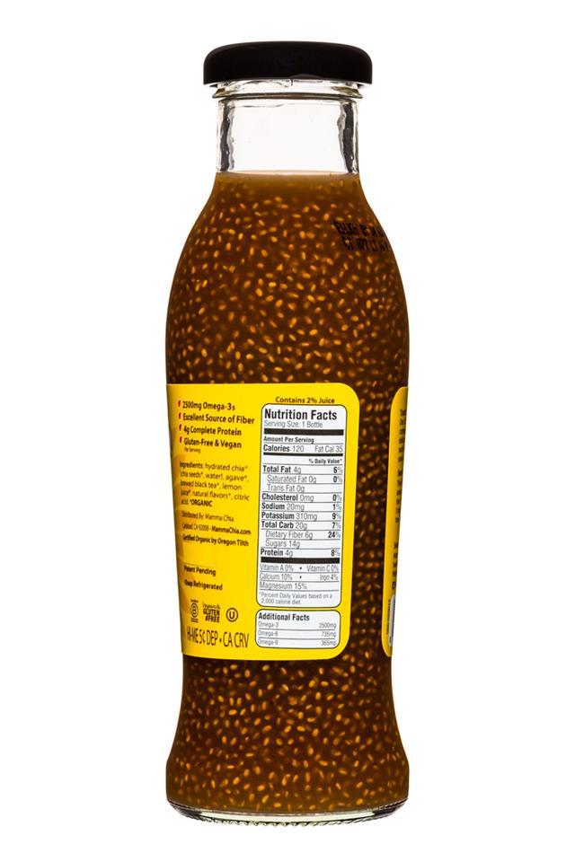Mamma Chia Organic Vitality Beverages: MammaChia-10oz-LemonIcedTea-Facts