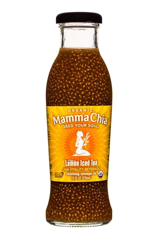 Mamma Chia Organic Vitality Beverages: MammaChia-10oz-LemonIcedTea-Front