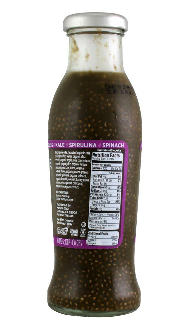 Mamma Chia Organic Vitality Beverages: MC-JoyfulGreen_GingerLemongrass-facts