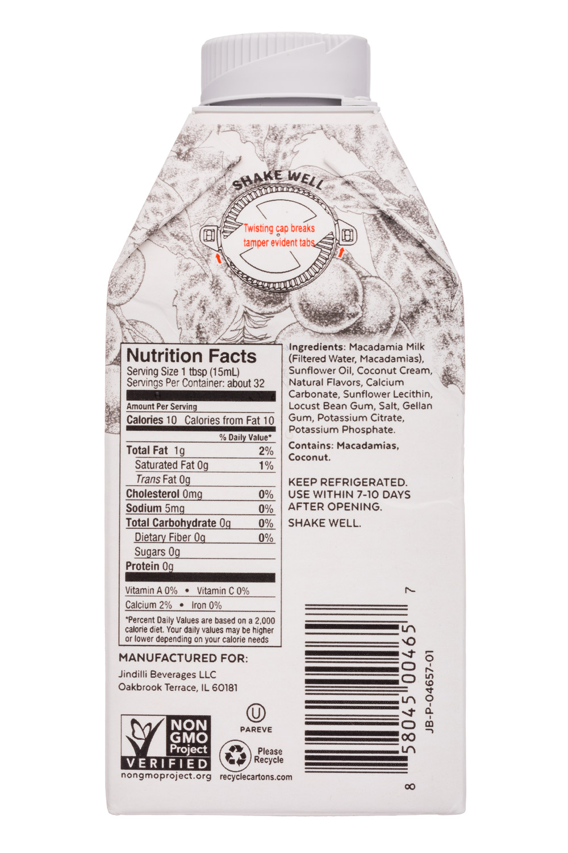 Milkadamia: Milkadamia-16oz-Creamer-UnsweetVanilla-Facts