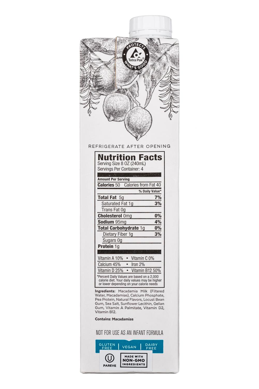 Milkadamia: Milkadamia-32oz-MacadamiaMilk-Unsweetened-Facts