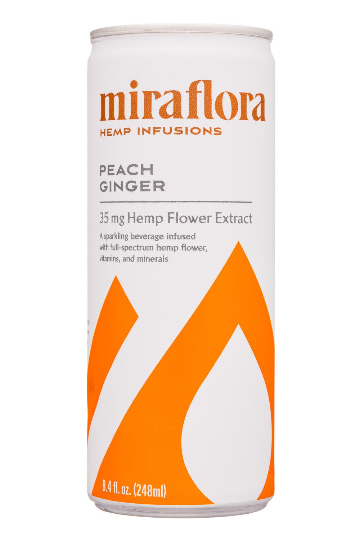 Miraflora Hemp Infusions: Miraflora-8oz-2020-HempInfusions-PeachGinger-Front