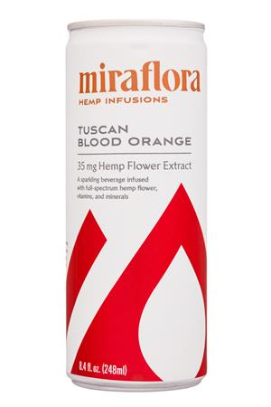 Miraflora Hemp Infusions: Miraflora-8oz-2020-HempInfusions-TuscanBloodOrange-Front