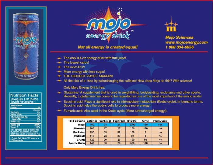 Mojo Energy Drink: Sale Sheet 2
