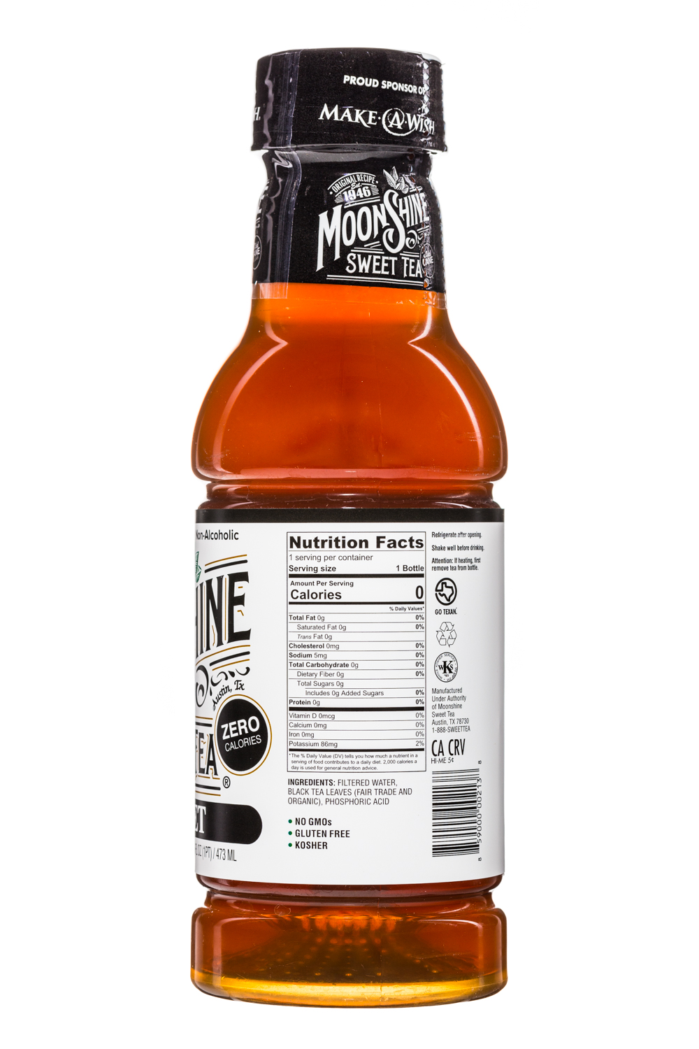 MoonShine Sweet Tea LLC: MoonshineSweetTea-16oz-Unsweet-Facts