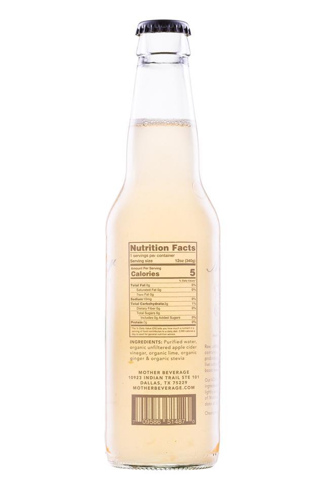 Mother Beverage: Mother-12oz-LimeGinger-Facts