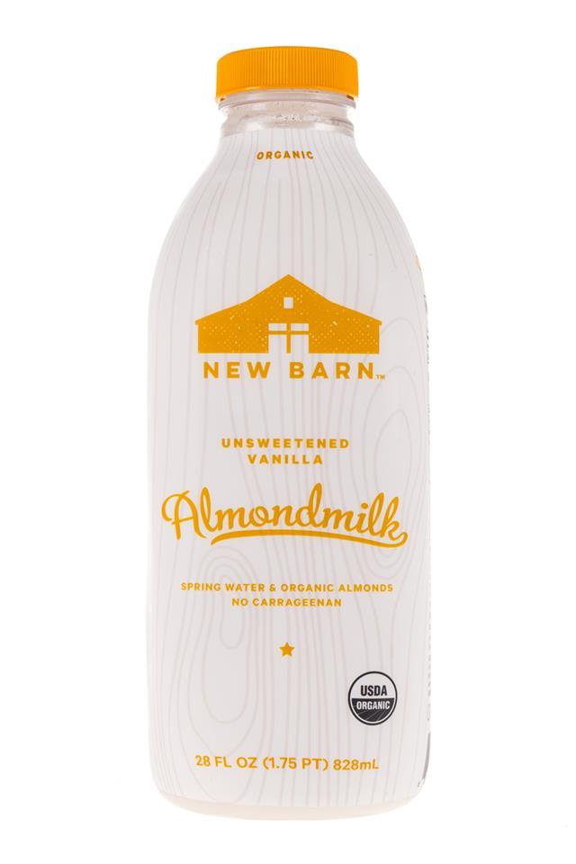 New Barn: NewBarn-Almondmilk-UnsweetVanilla-28oz-Front