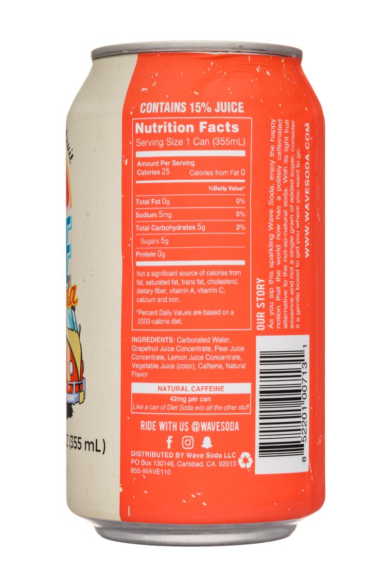 Wave Soda: NewWaveSoda-12oz-Grapefruit-Facts