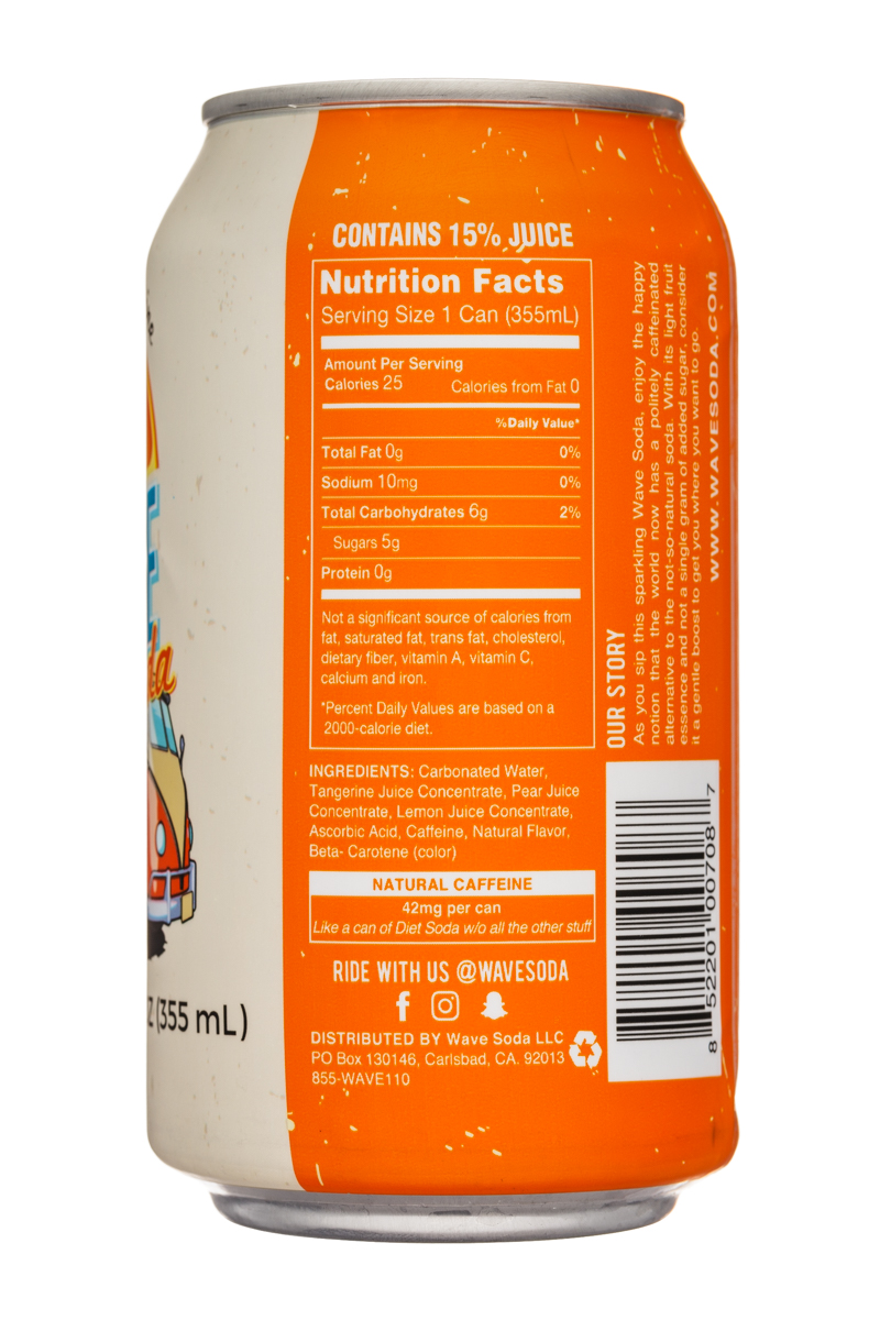 Wave Soda: NewWaveSoda-12oz-Tangerine-Facts