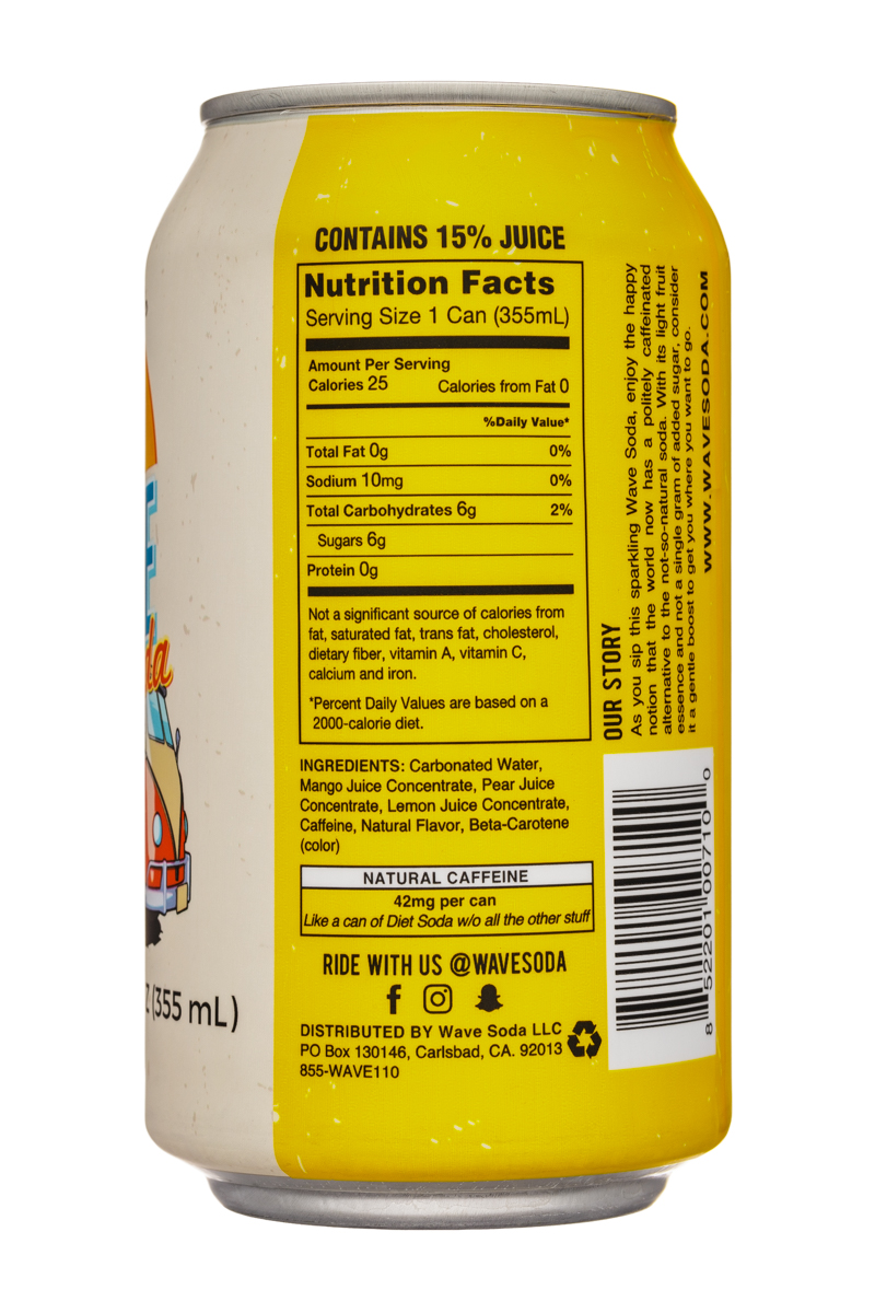 Wave Soda: NewWaveSoda-12oz-Mango-Facts