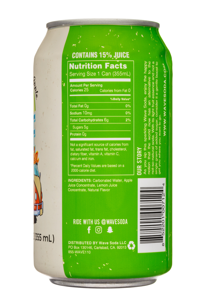 Wave Soda: NewWaveSoda-12oz-CaffieneFreeApple-Facts