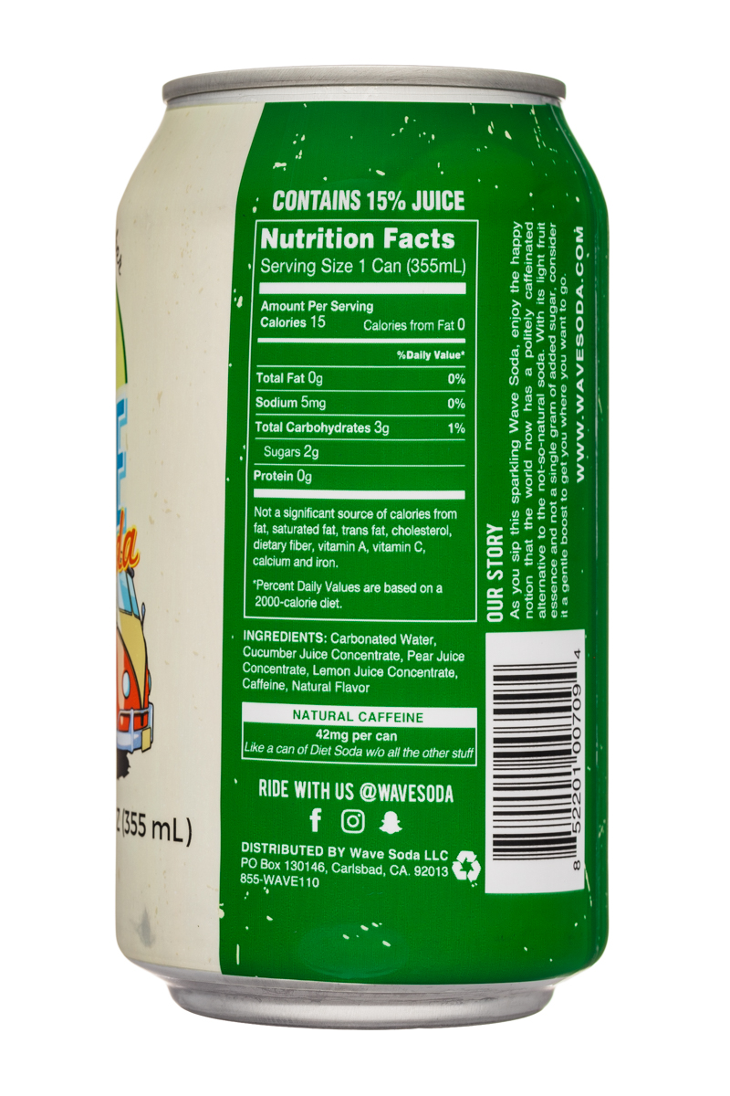 Wave Soda: NewWaveSoda-12oz-Cucumber-Facts