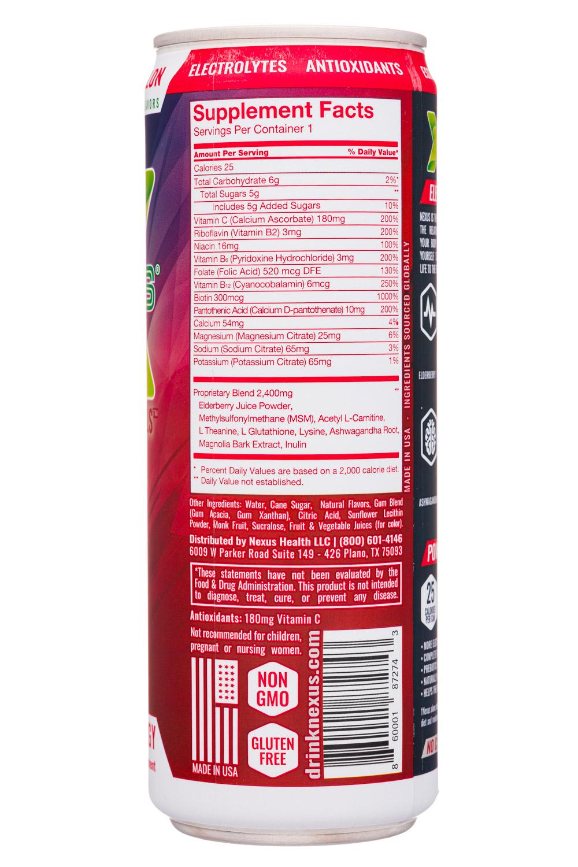 Nexus Energy Drinks: Nexus-12oz-2020-FunctEnergy-JuicyWater-Facts