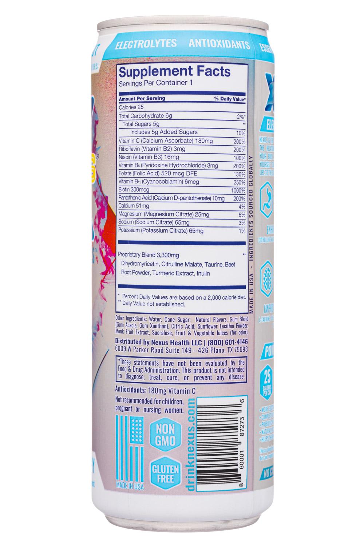 Nexus Energy Drinks: Nexus-12oz-2020-FunctEnergy-LemonCoconut-Facts