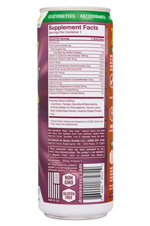 Nexus Energy Drinks: Nexus-12oz-2020-FunctEnergy-CherryLimeade-facts