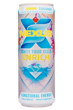 Nexus Energy Drinks: Nexus-12oz-2020-FunctEnergy-LemonCoconut-Front