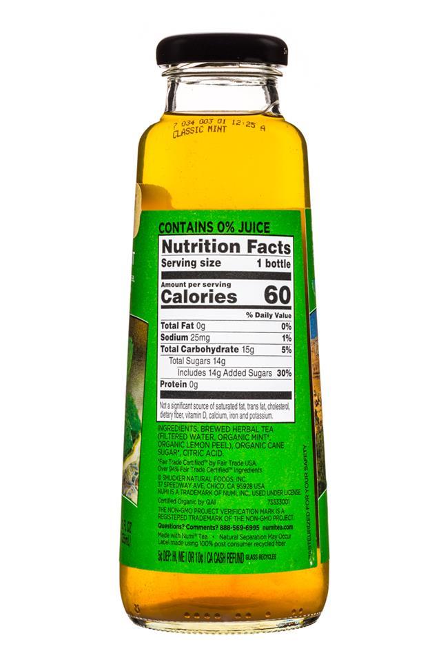 Numi Organic Tea: Numi-12oz-OrganicTea-ClassicMint-Facts
