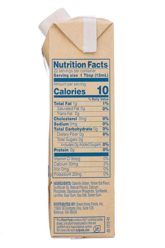 Nut Pods: NutPods-11oz-2020-OatCreamer-FrenchVanilla-Facts