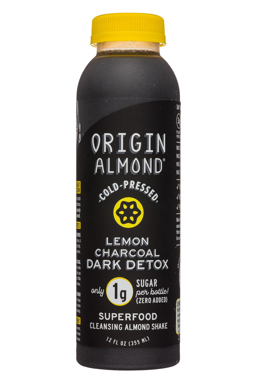 Origin Almond: OriginAlmond-12oz-CPShake-LemonCharcoalDarkDetox-Front