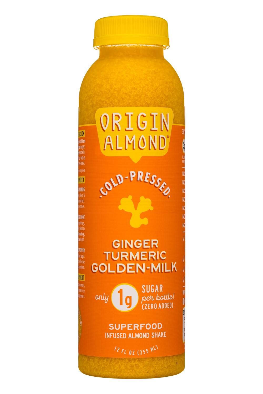 Origin Almond: OriginAlmond-12oz-CPShake-GingerTurmericGoldMilk-Front
