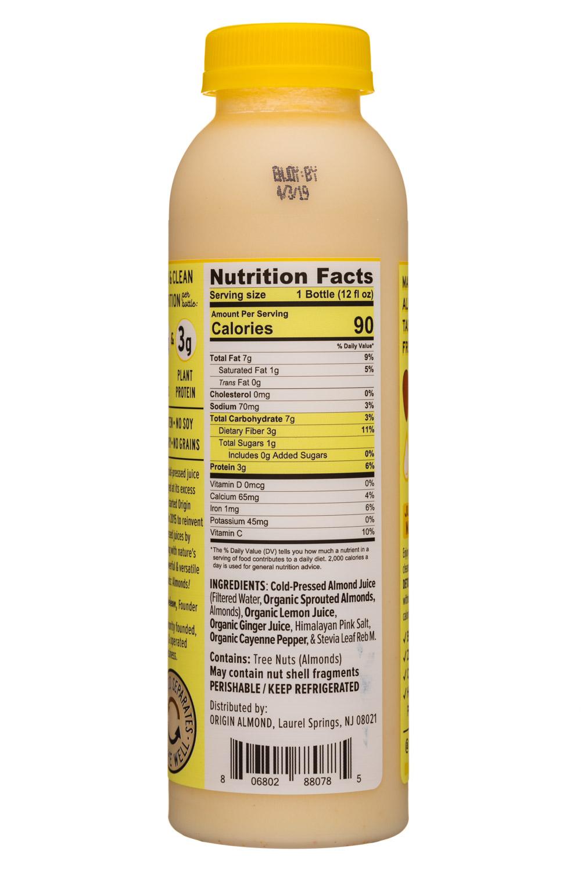 Origin Almond: OriginAlmond-12oz-CPAlmondJuice-LemonGingerCleanse-Facts