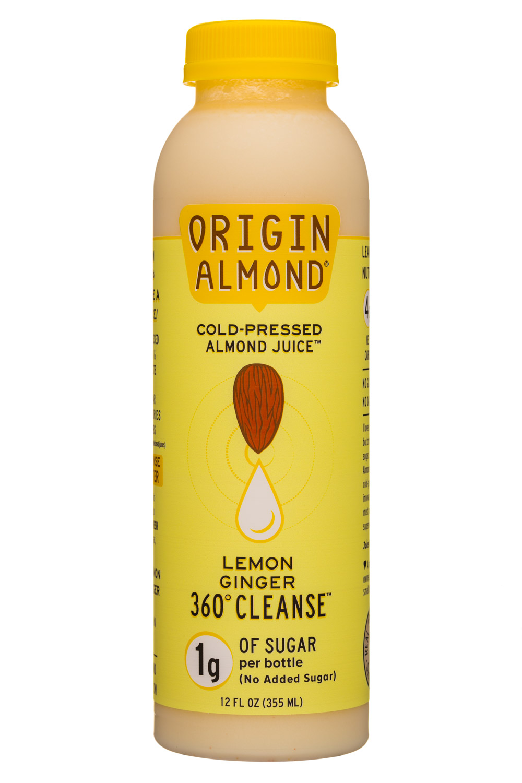 Origin Almond: OriginAlmond-12oz-CPAlmondJuice-LemonGingerCleanse-Front