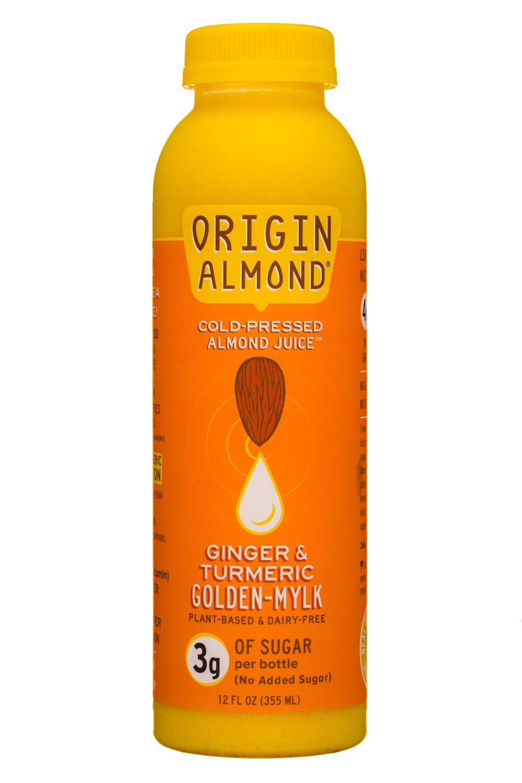 Origin Almond: OriginAlmond-12oz-CPAlmondJuice-GingerTurmericGoldenMylk-Front