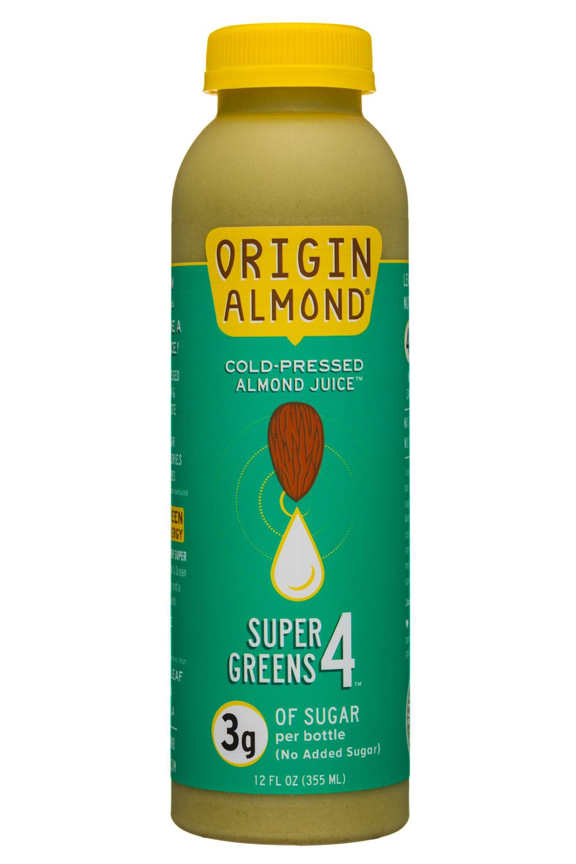 Origin Almond: OriginAlmond-12oz-CPAlmondJuice-SuperGreens4-Front